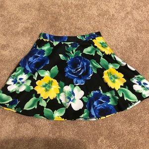 Floral Black Skater Skirt